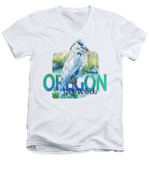 Puddletown Great Blue Heron Men's V-Neck T-Shirt by Kara Skye