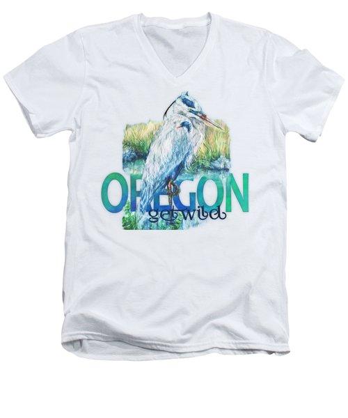 Puddletown Great Blue Heron Men's V-Neck T-Shirt by Kara Skye