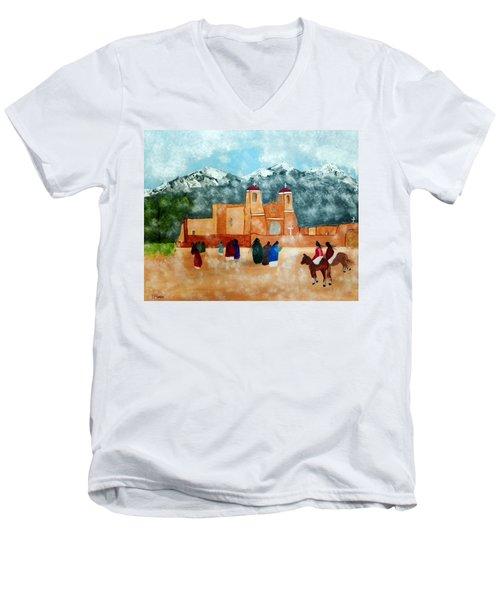 Pueblo Church Men's V-Neck T-Shirt by Joseph Frank Baraba