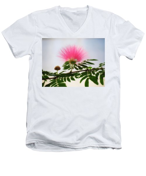 Puff Of Pink - Mimosa Flower Men's V-Neck T-Shirt