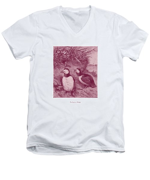 Puffins At Home Men's V-Neck T-Shirt
