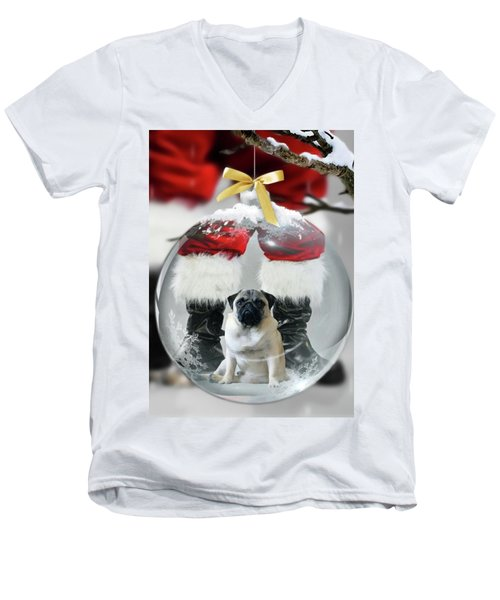 Pug And Santa Men's V-Neck T-Shirt
