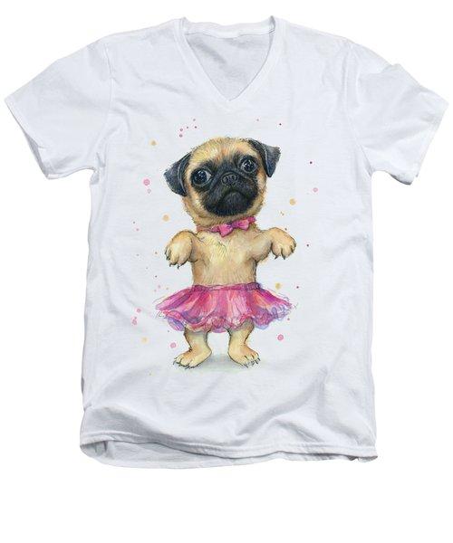 Pug In A Tutu Men's V-Neck T-Shirt