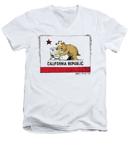 Men's V-Neck T-Shirt featuring the drawing Puke Politics by Daryl Cagle