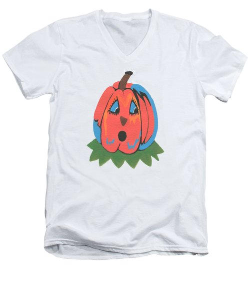 Pumpkin Men's V-Neck T-Shirt by Kathleen Sartoris