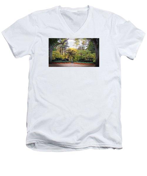 Pumpkins In A Row Men's V-Neck T-Shirt by Teresa Schomig