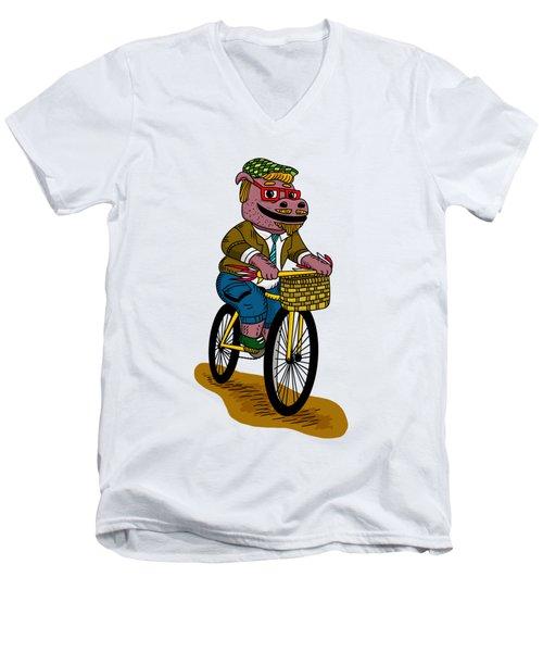 Pun Intended - Hipsterpotamus - Hipsters- Funny Design Men's V-Neck T-Shirt by Paul Telling