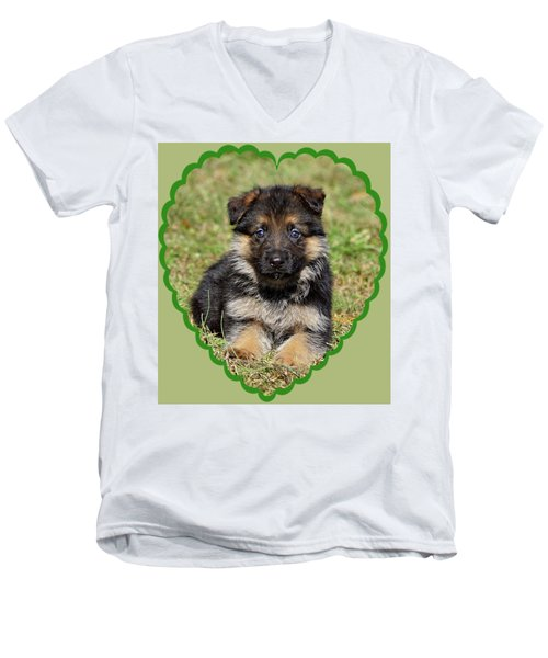 Men's V-Neck T-Shirt featuring the photograph Puppy In Heart by Sandy Keeton