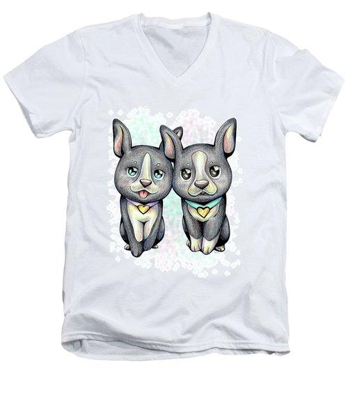 Puppy Love Boston Terrier Men's V-Neck T-Shirt
