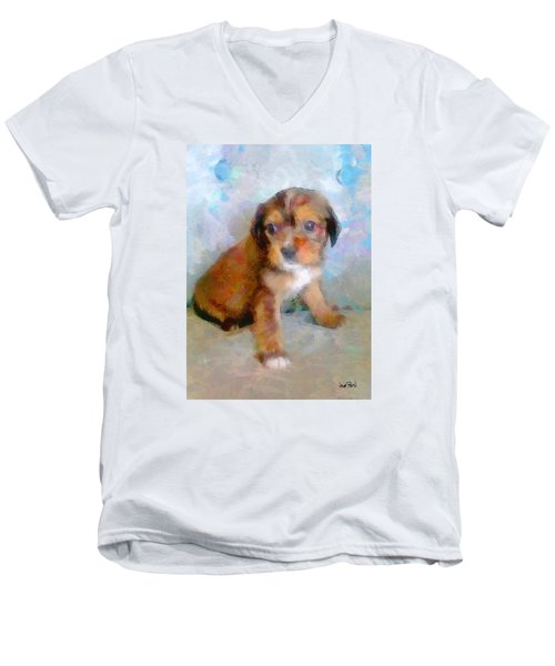 Puppy Love Men's V-Neck T-Shirt by Wayne Pascall