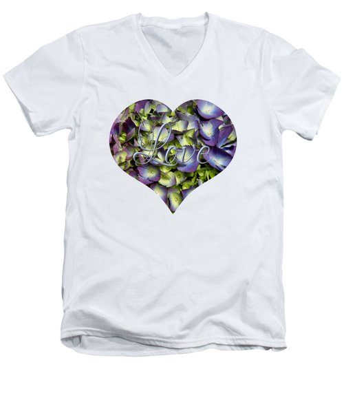 Men's V-Neck T-Shirt featuring the photograph Purple And Cream Hydrangea Flowers Heart With Love by Rose Santuci-Sofranko