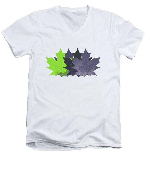Purple And Green Leaves Men's V-Neck T-Shirt