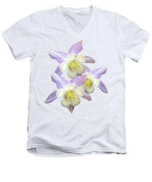 Purple Aquilegia Men's V-Neck T-Shirt by Gill Billington