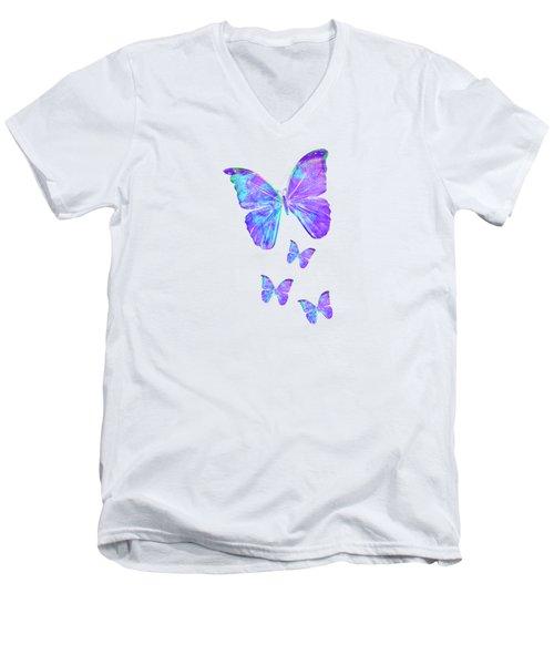 Purple Butterflies By Jan Marvin Men's V-Neck T-Shirt