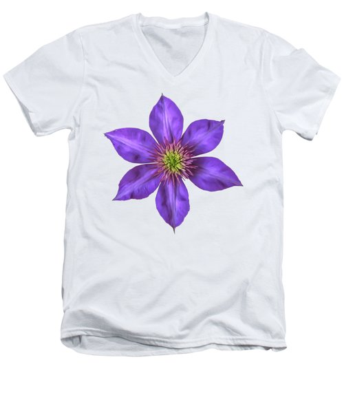 Purple Clematis Flower With Soft Look Effect Men's V-Neck T-Shirt by Rose Santuci-Sofranko