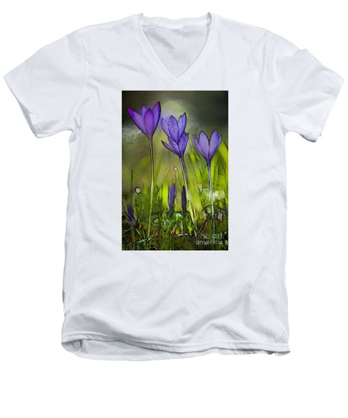 Men's V-Neck T-Shirt featuring the photograph Purple Crocus Flowers by Jean Bernard Roussilhe