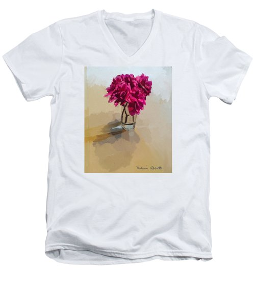 Purple Dahlias Men's V-Neck T-Shirt by Melissa Abbott