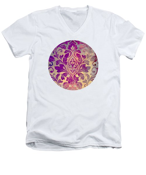 Purple Damask Pattern Men's V-Neck T-Shirt