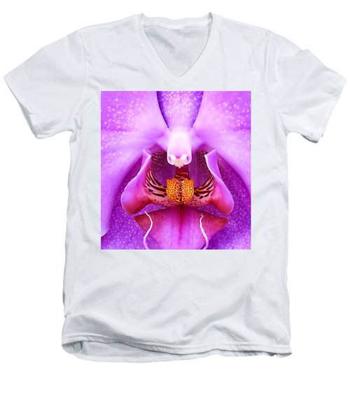 Purple Face In The Orchid. Men's V-Neck T-Shirt