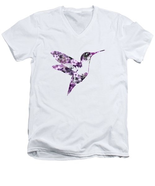 Purple Floral Hummingbird Art Men's V-Neck T-Shirt