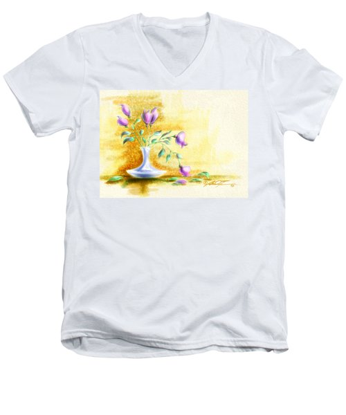 Purple Flowers In Vase Men's V-Neck T-Shirt