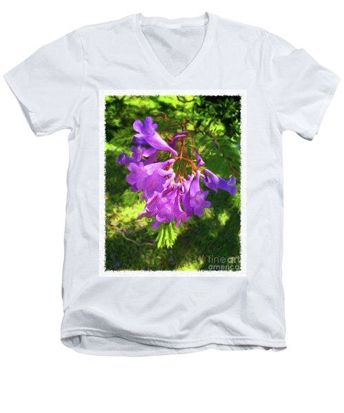 Purple Flowers Men's V-Neck T-Shirt
