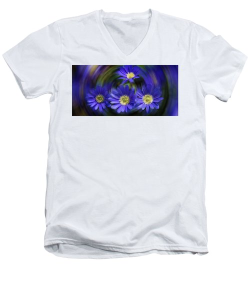 Purple In Nature Men's V-Neck T-Shirt by Milena Ilieva