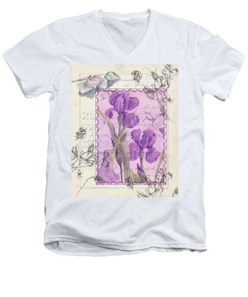 Men's V-Neck T-Shirt featuring the drawing Purple Iris by Cathie Richardson