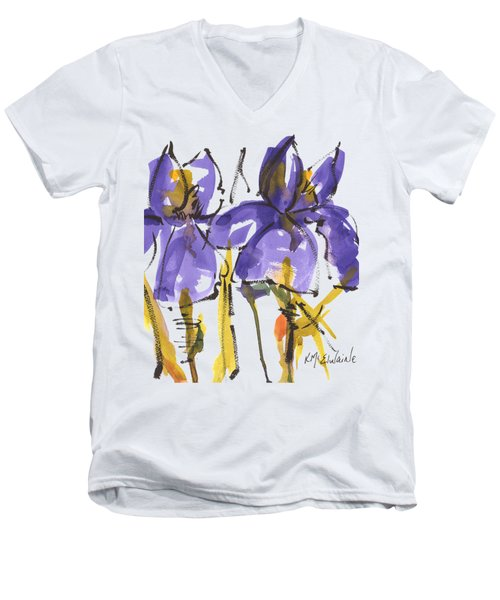 Purple Iris Garden Flowers Men's V-Neck T-Shirt