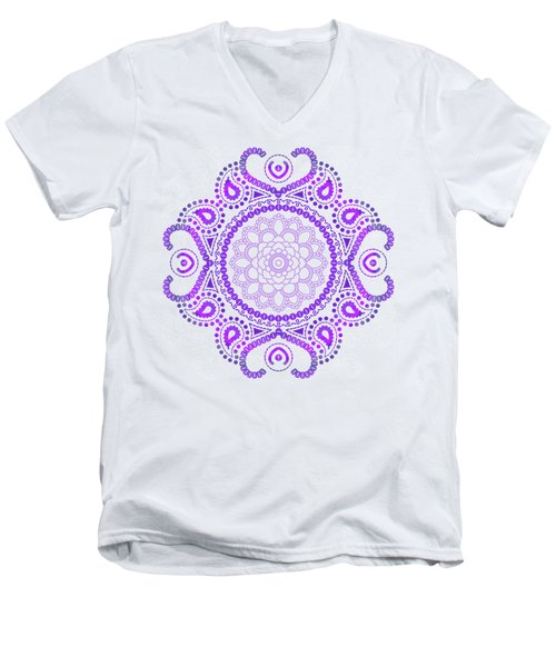 Purple Lotus Mandala Men's V-Neck T-Shirt by Tammy Wetzel