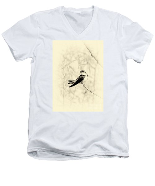 Men's V-Neck T-Shirt featuring the photograph Purple Martin by Lila Fisher-Wenzel
