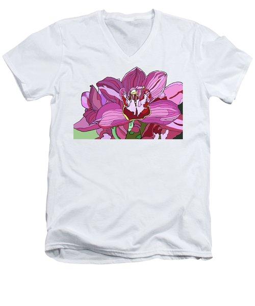 Purple Orchid Men's V-Neck T-Shirt by Jamie Downs