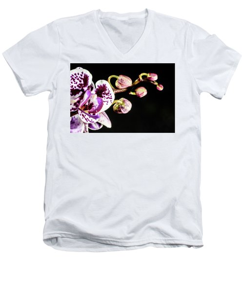 Purple Orchid Reaching Out Men's V-Neck T-Shirt