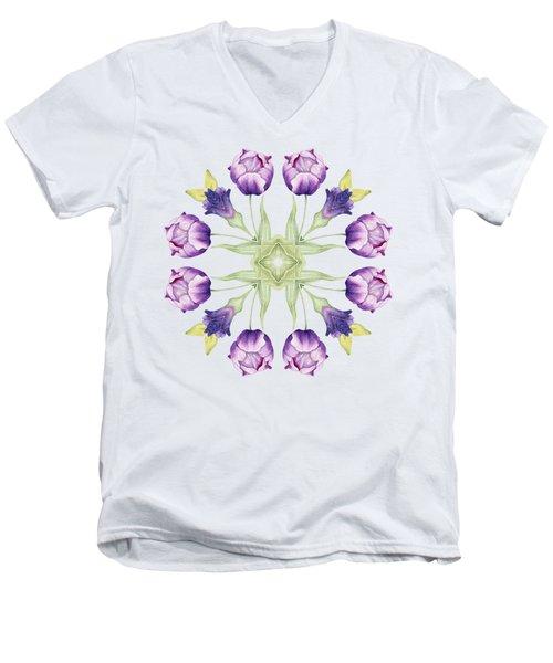 Purple Tulip Mandala Men's V-Neck T-Shirt