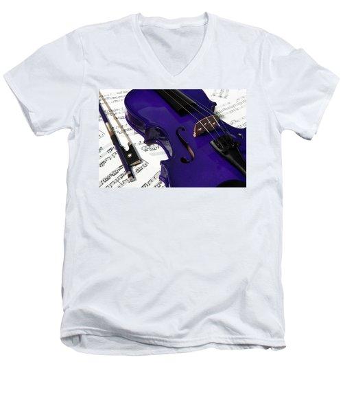 Purple Violin And Music V Men's V-Neck T-Shirt