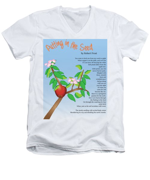 Men's V-Neck T-Shirt featuring the digital art Putting In The Seed by Thomasina Durkay