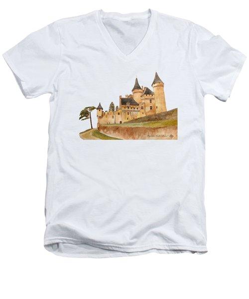 Puymartin Castle Men's V-Neck T-Shirt by Angeles M Pomata
