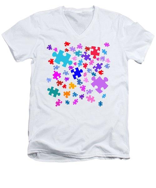 Puzzle Pieces Men's V-Neck T-Shirt