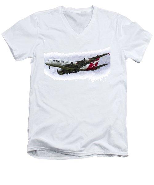 Qantas Airbus A380 Art Men's V-Neck T-Shirt