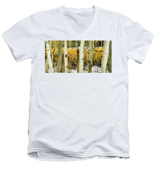 Quakies And Willows In Autumn Men's V-Neck T-Shirt