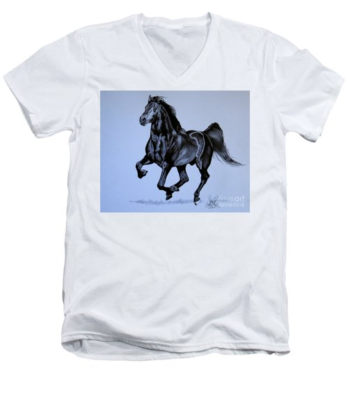 The Black Quarter Horse In Bic Pen Men's V-Neck T-Shirt