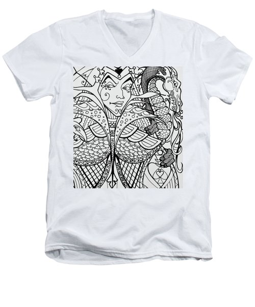 Men's V-Neck T-Shirt featuring the drawing Queen Of Spades Close Up With Dragon by Jani Freimann