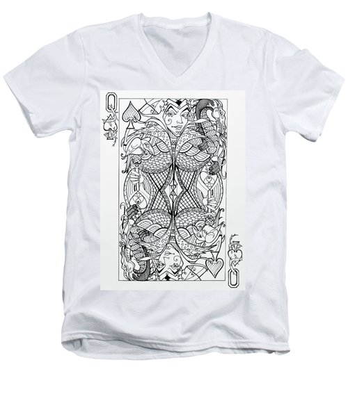 Men's V-Neck T-Shirt featuring the drawing Queen Of Spades  by Jani Freimann
