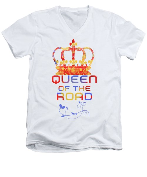 Queen Of The Road Men's V-Neck T-Shirt by Pedro Cardona
