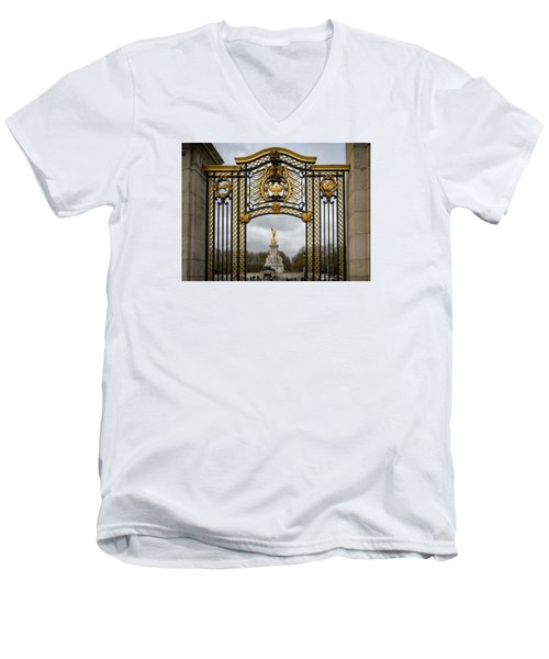 Men's V-Neck T-Shirt featuring the photograph Queen Victoria's Statue by Shirley Mitchell