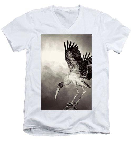 Quiet Men's V-Neck T-Shirt by Cyndy Doty