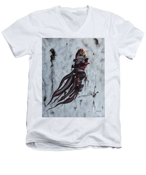 Men's V-Neck T-Shirt featuring the painting Quiet Desperation by Robert Henne