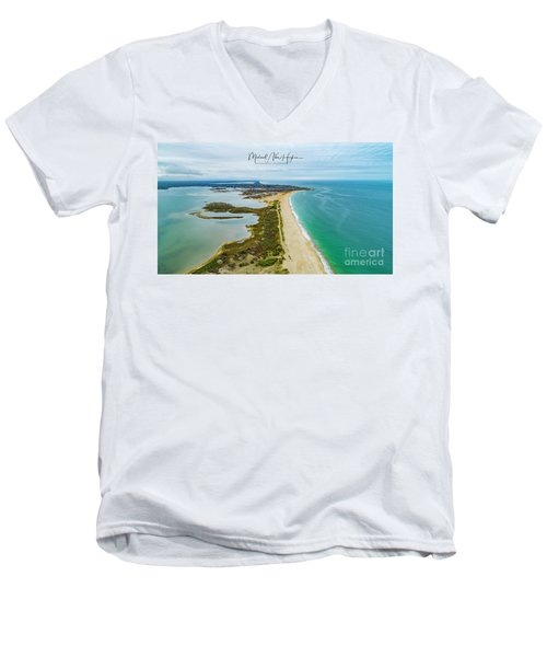 Quonochontaug Beach Men's V-Neck T-Shirt