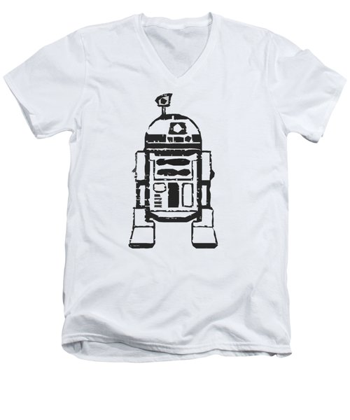 Men's V-Neck T-Shirt featuring the drawing R2d2 Star Wars Robot by Edward Fielding