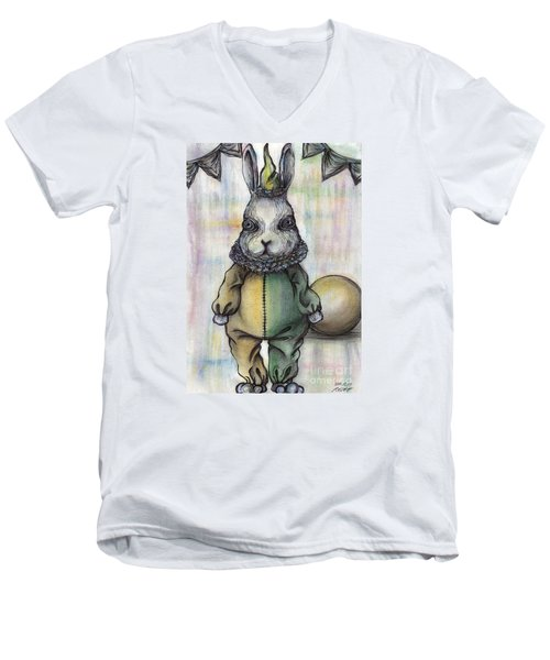 Rabbit Pierrot Men's V-Neck T-Shirt by Akiko Okabe